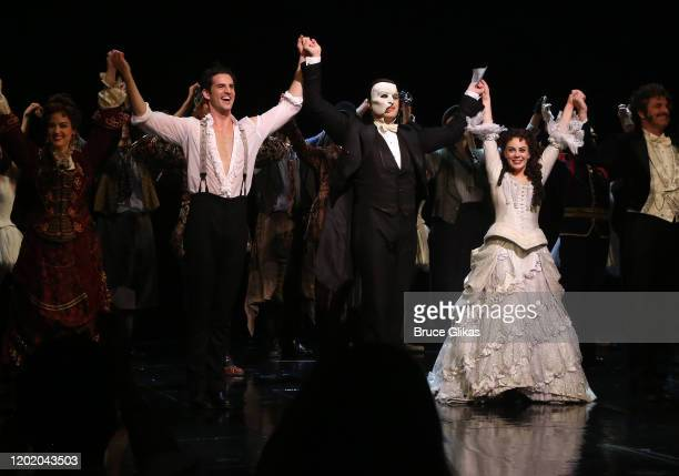 """John Riddle as """"Raoul, Vicomte de Chagny"""", Ben Crawford as """"the Phantom"""" and Meghan Picerno as """"Christine Daae"""" during the 32nd Anniversary..."""