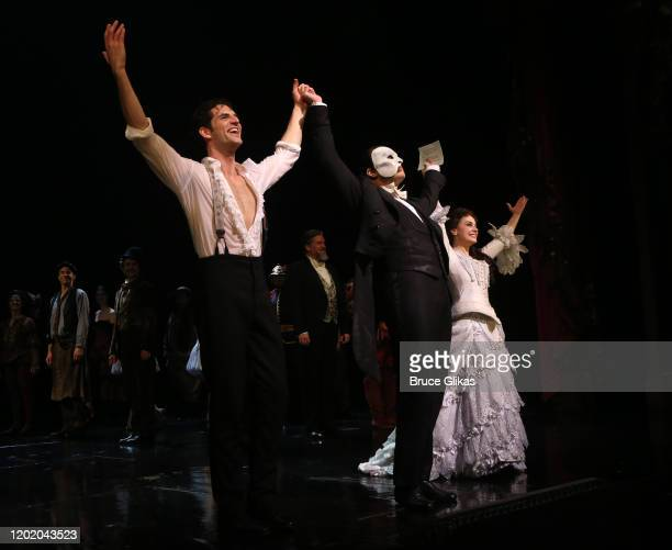 John Riddle as Raoul Vicomte de Chagny Ben Crawford as the Phantom and Meghan Picerno as Christine Daae during the 32nd Anniversary Performance...