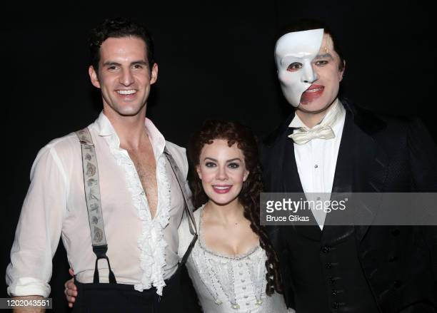 John Riddle as Raoul Vicomte de Chagny Meghan Picerno as Christine Daae and Ben Crawford as the Phantom pose backstage at the 32nd Anniversary...