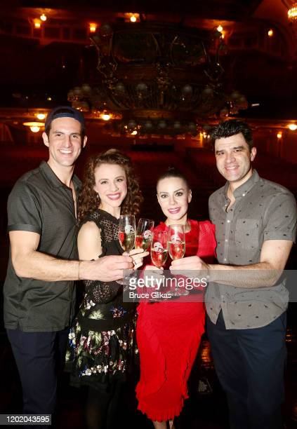 John Riddle Eryn LeCroy Meghan Picerno and Ben Crawford pose at the 32nd Anniversary Performance and Party for The Phantom of The Opera on Broadway...