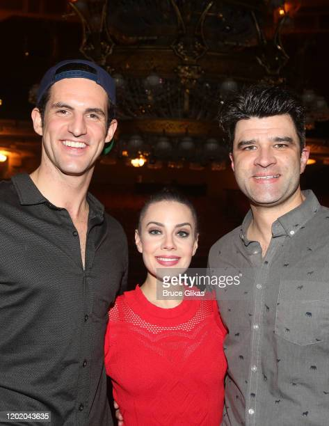 John Riddle Meghan Picerno and Ben Crawford pose at the 32nd Anniversary Performance and Party for The Phantom of The Opera on Broadway at The...