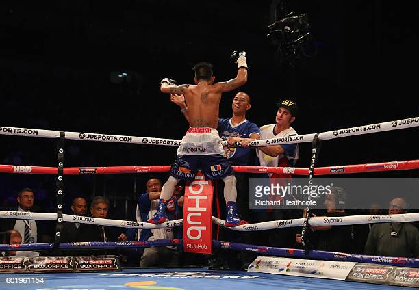 John Riel Casimero celebrates victory over Charlie Edwards in the tenth round of their IBF Flyweight Title contest at The O2 Arena on September 10...
