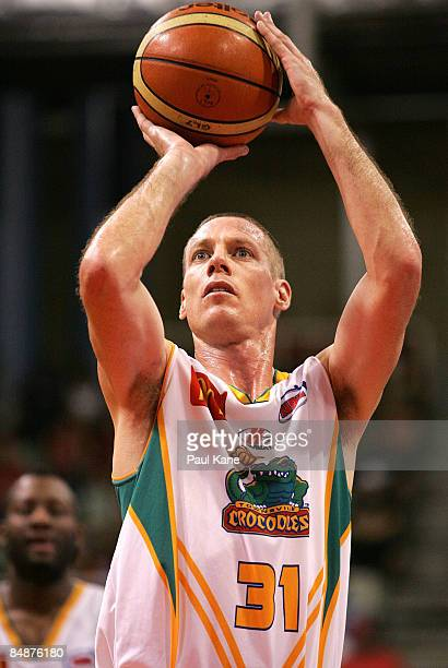 John Rillie of the Crocodiles shoots a free throw during the NBL quarter final match between the Perth Wildcats and the Townsville Crocodiles held at...