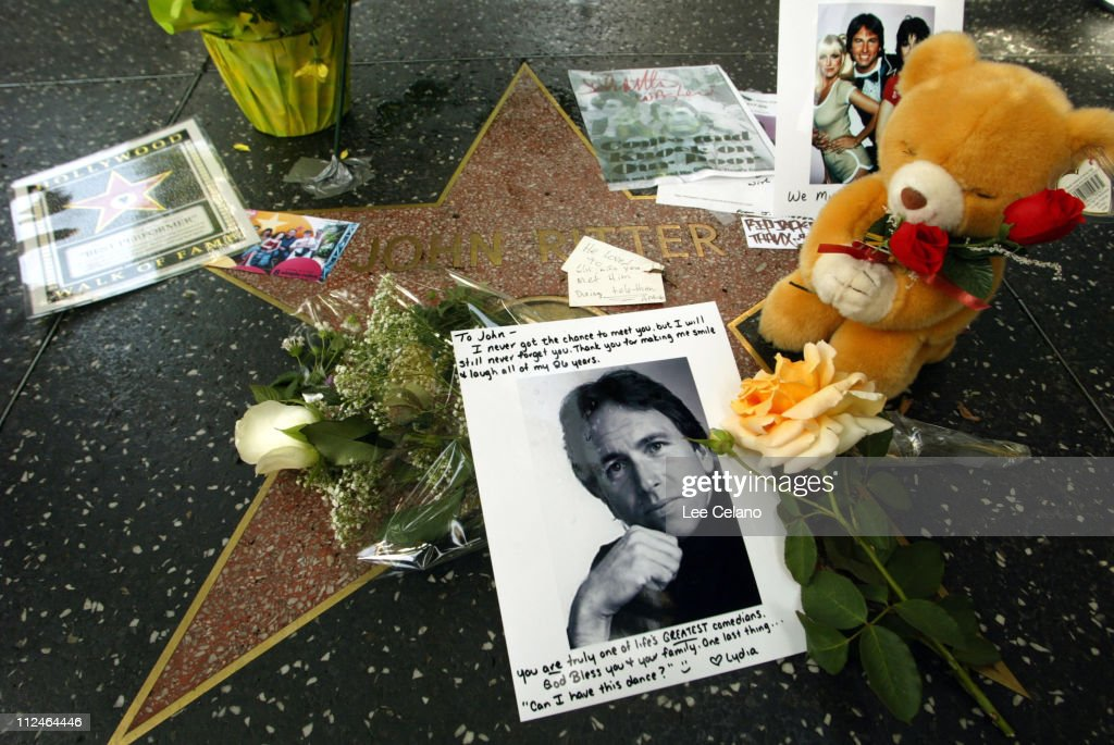 John Ritter's Star on the Hollywood Walk of Fame Memorialized with Flowers and Gifts by Fans : News Photo