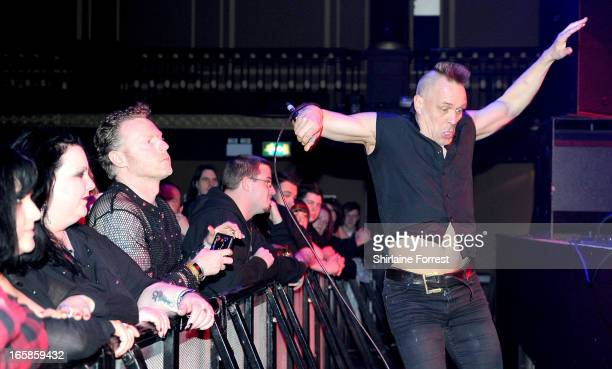 John Robb of Goldblade performs supporting Misfits at The Ritz Manchester on April 6 2013 in Manchester England