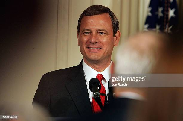 John Roberts speaks after becoming the new Chief Justice of the U.S. During a swearing in ceremony in the East Room at the White House September 29,...