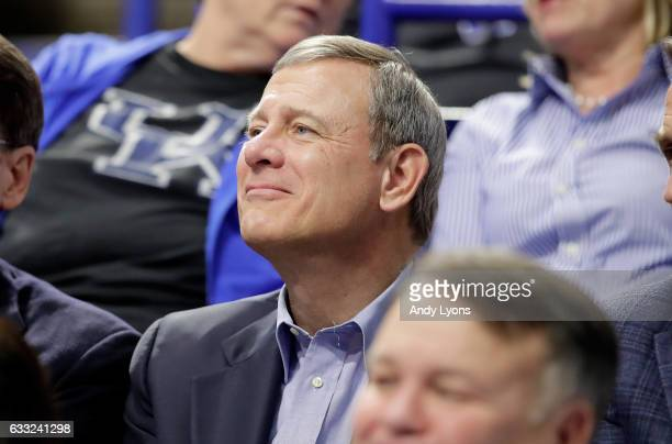 John Roberts, the Chief Justice of The Supreme Court of America, watches the Kentucky Wildcats game against the Georgia Bulldogs at Rupp Arena on...