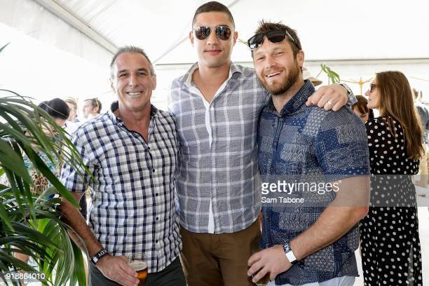 John Robertson Patrick Miller and Mat Lockett arrives at the Fashion Aid Twilight Beach Polo on February 16 2018 in Melbourne Australia