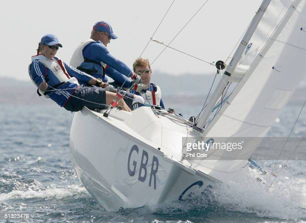 John Robertson Stephen Thomas and Hannah Stodel of Great Britain compete in the Mixed Sonar Sailing during the Athens 2004 Paralympic Games on...