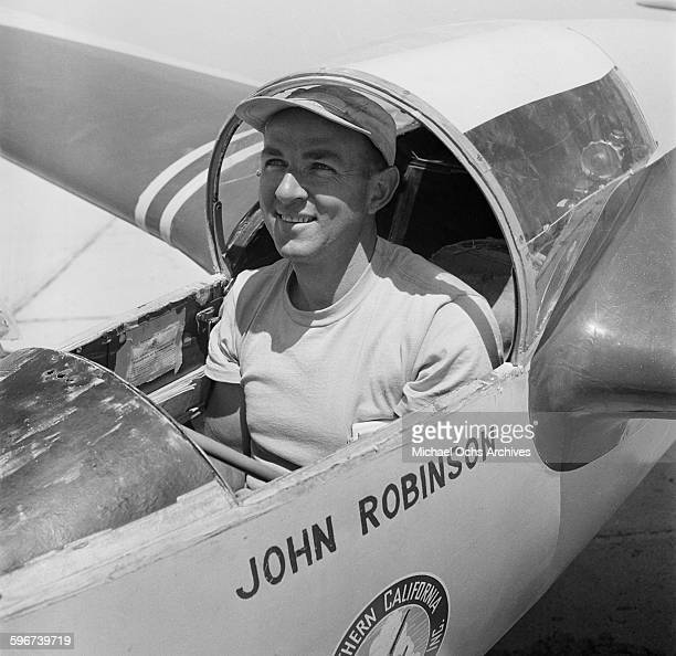 John Robinson sits in his glider during a gliding competition in PalmdaleCalifornia