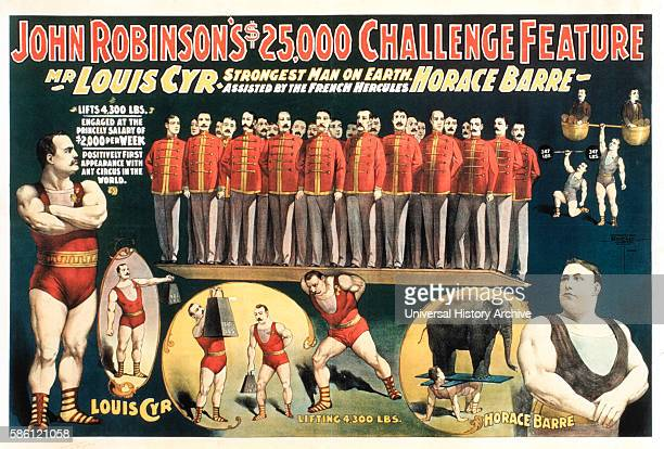 John Robinson's $25000 Challenge Feature Mr Louis Cyr Strongest Man on Earth Assisted by the French Hercules Horace Barre Circus Poster circa 1898