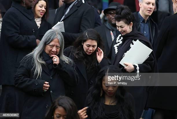 John Rocha Simone Rocha and Odette Rocha depart a memorial service for Professor Louise Wilson during London Fashion Week Fall/Winter 2015/16 at St...