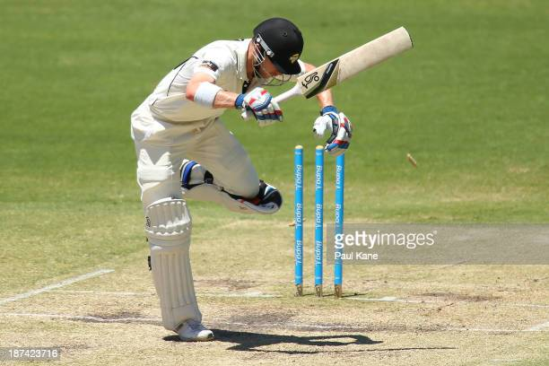 John Rogers of the Warriors his bowled by Chadd Sayers of the Redbacks during day four of the Sheffield Shield match between the Western Australia...