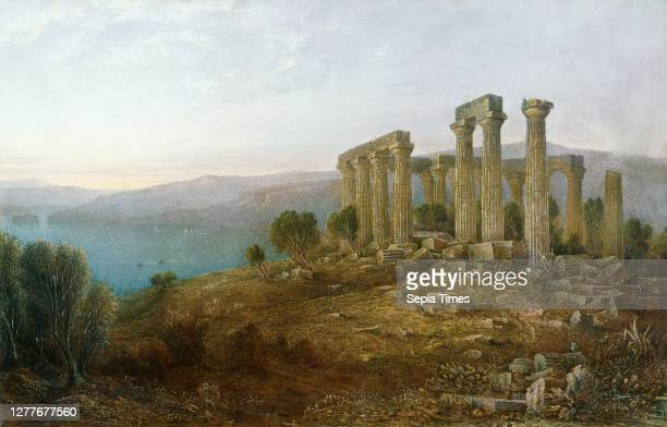 John Rollin Tilton, Temple of Aphaea, Aegina, ca. 1870-1879, oil on canvas, 30 15/16 in. X 48 1/16 in. , Born in New Hampshire, John Rollin Tilton...