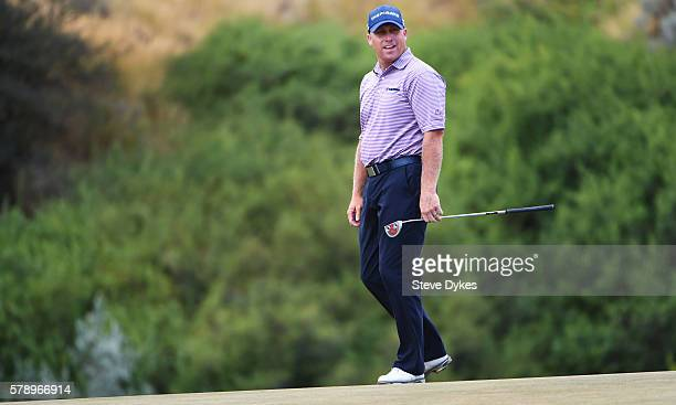 John Rollins reacts to his birdie putt attempt on the 17th hole during the second round of the Utah Championship Presented by Zions Bank at...