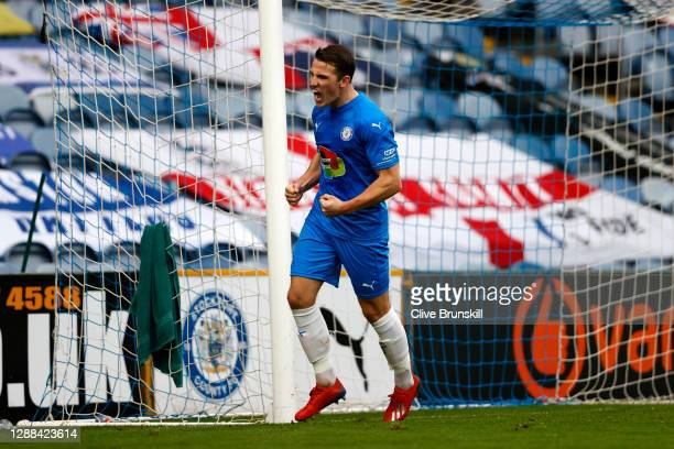 John Rooney of Stockport County celebrates after scoring their sides first goal during the Emirates FA Cup Second Round match between Stockport...