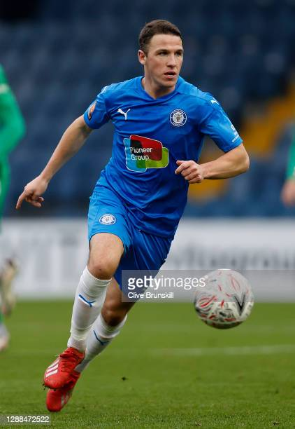 John Rooney of Stockport County in action during the Emirates FA Cup Second Round match between Stockport County and Yeovil Town on November 29, 2020...