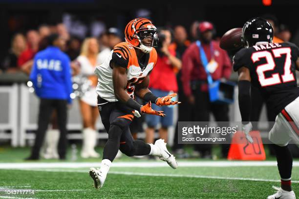 John Ross of the Cincinnati Bengals catches a pass for a touchdown during the second quarter against the Atlanta Falcons at MercedesBenz Stadium on...