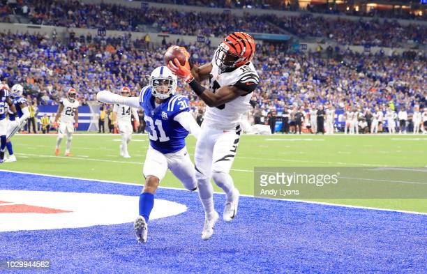 John Ross of the Cincinnati Bengals catches a toucdown pass against the Indianapolis Colts at Lucas Oil Stadium on September 9 2018 in Indianapolis...