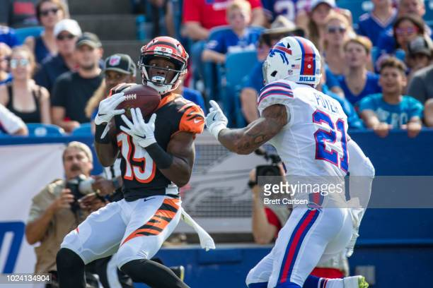 John Ross of the Cincinnati Bengals makes a touchdown reception on the Bengals' first offensive play against the Buffalo Bills at New Era Field on...