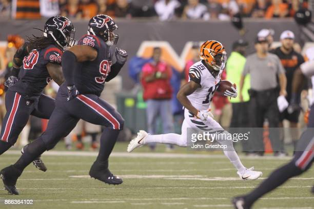 John Ross of the Cincinnati Bengals runs the football upfield during the game against the Houston Texans at Paul Brown Stadium on September 14 2017...