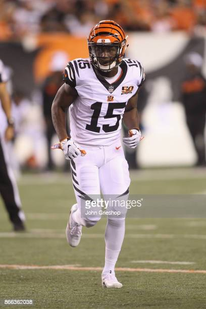 John Ross of the Cincinnati Bengals runs to the line of scrimmage during the game against the Houston Texans at Paul Brown Stadium on September 14...