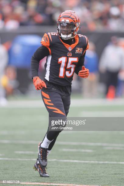 John Ross of the Cincinnati Bengals runs to the line of scrimmage during the game against the Indianapolis Colts at Paul Brown Stadium on October 29...