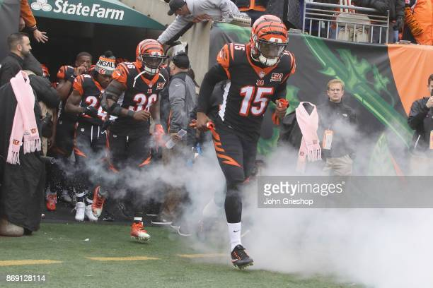 John Ross of the Cincinnati Bengals takes the field for the game against the Indianapolis Colts at Paul Brown Stadium on October 29 2017 in...