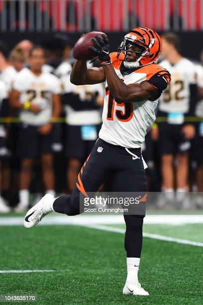 John Ross of the Cincinnati Bengals warms up prior to the game against the Atlanta Falcons at MercedesBenz Stadium on September 30 2018 in Atlanta...