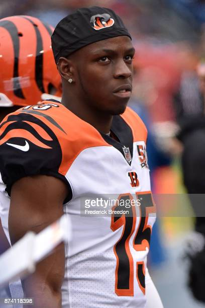 John Ross of the Cincinnatti Bengals watches from the sideline during a game against the Tennessee Titans at Nissan Stadium on November 12 2017 in...