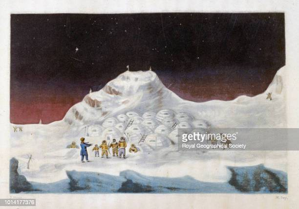 John Ross with Eskimos in the Arctic From 'Narrative of a second voyage in search of a northwest passage and of a residence in the Arctic regions...