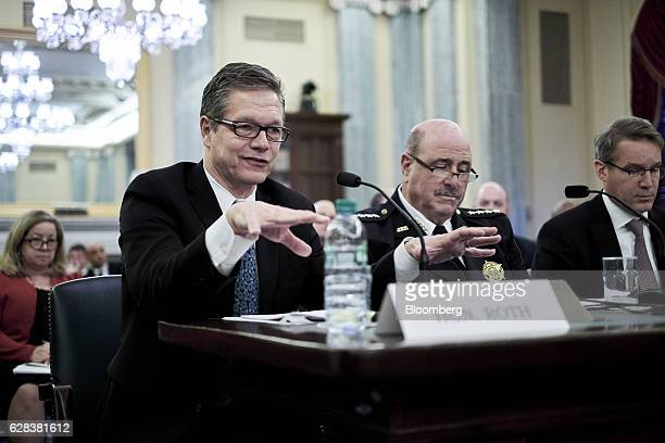 John Roth inspector general of the US Department of Homeland Security from left Neil Trugman interim chief of police for Amtrak and Chris Spear...