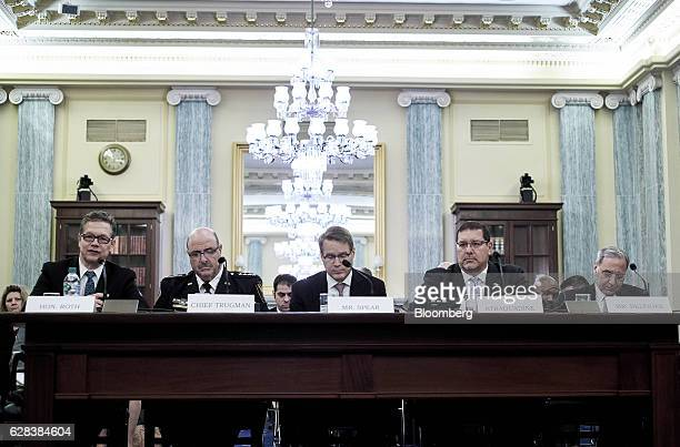 John Roth inspector general of the US Department of Homeland Security from left Neil Trugman interim chief of police for Amtrak Chris Spear president...