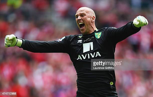 John Ruddy of Norwich City celebrates as Cameron Jerome of Norwich City scores their first goal during the Sky Bet Championship Playoff Final between...