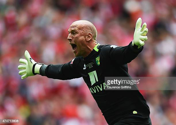 John Ruddy of Norwich City celebrates as Nathan Redmond of Norwich City scores their second goal during the Sky Bet Championship Playoff Final...
