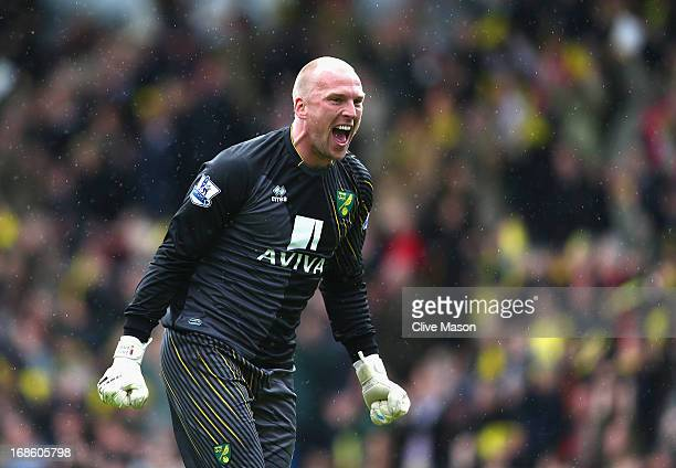 John Ruddy of Norwich City celebrates Norwich's third goal during the Barclays Premier League match between Norwich City and West Bromwich Albion at...