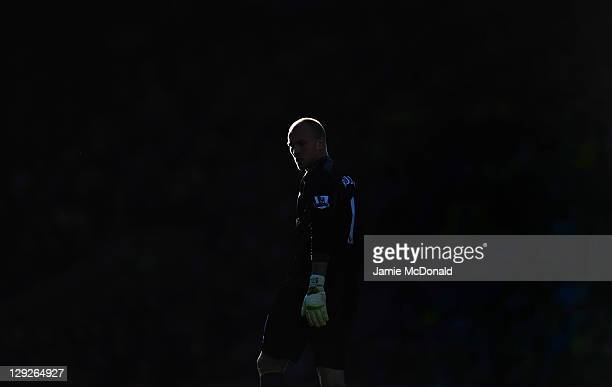 John Ruddy of Norwich City looks on during the Barclays Premier League match between Norwich City and Swansea City at Carrow Road on October 15 2011...