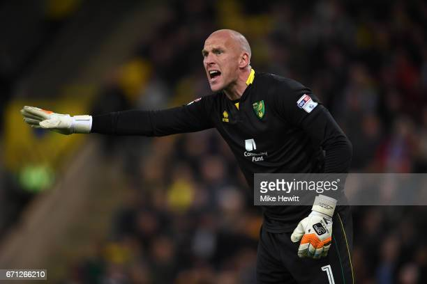 John Ruddy of Norwich shouts instructions during the Sky Bet Championship match between Norwich City and Brighton Hove Albion at Carrow Road on April...