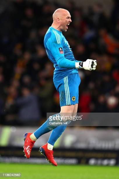 John Ruddy of Wolverhampton Wanderers celebrates after Raul Jimenez of Wolverhampton Wanderers scores his team's first goal during the FA Cup Quarter...