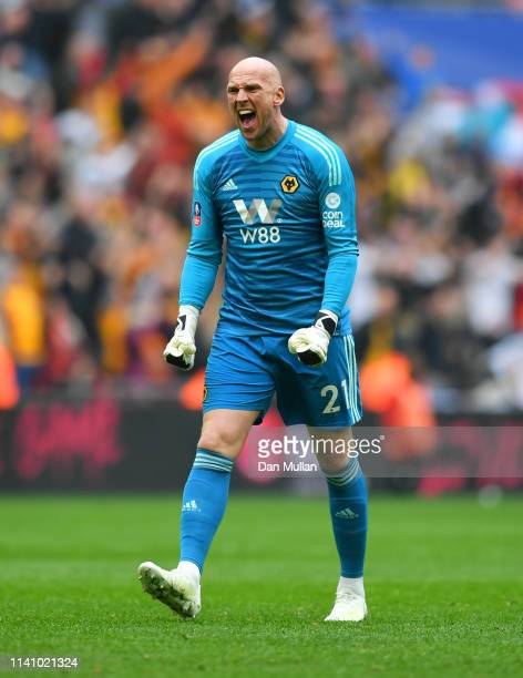 John Ruddy of Wolverhampton Wanderers celebrates as Raul Jimenez scores his team's second goal during the FA Cup Semi Final match between Watford and...