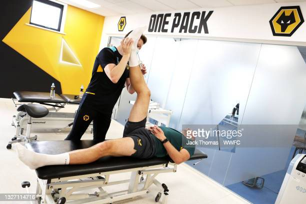 John Ruddy of Wolverhampton Wanderers has his measurements taken as part of physio screening by Ollie Leaper, Physio of Wolverhampton Wanderers and...