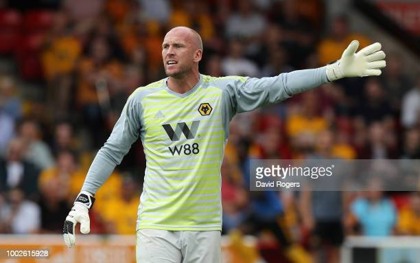 John Ruddy of Wolverhampton Wanderers issues instructions during the pre seaon friendly match between Wolverhampton Wanderers and Ajax at the Banks'...