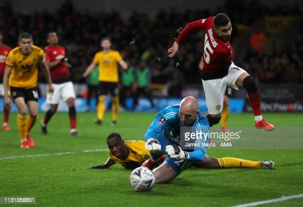 John Ruddy of Wolverhampton Wanderers saves from Andreas Pereira of Manchester United during the FA Cup Quarter Final match between Wolverhampton...