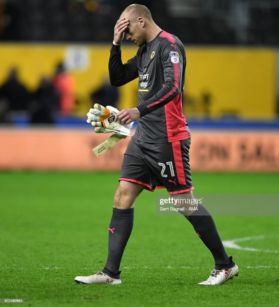 John Ruddy of Wolverhampton Wanderers stands dejected at full time during the Sky Bet Championship match between Wolverhampton Wanderers and Norwich City at Molineux on February 20, 2018 in Wolverhampton, England.