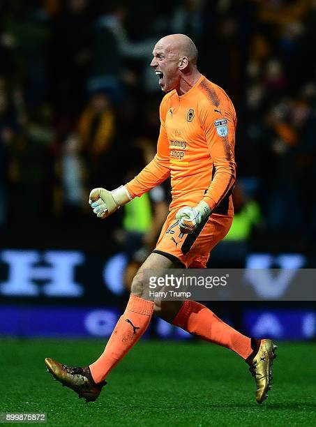 John Ruddy of Wolves celebrates as Ryan Bennett of Wolverhampton Wanderers scores his sides winning goal during the Sky Bet Championship match...