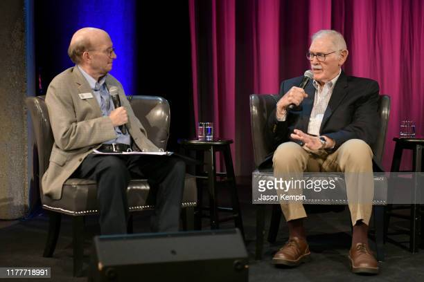 John Rumble and Bill C Malone speak onstage during a panel of the legacy of Boudleaux and Felice Bryant at Country Music Hall of Fame and Museum on...
