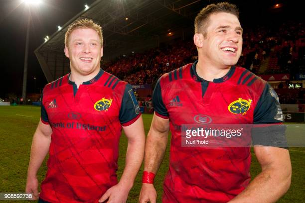 John Ryan and CJ Stander of Munster during the European Rugby Champions Cup Round 6 match between Munster Rugby and Castres Olympique at Thomond Park...