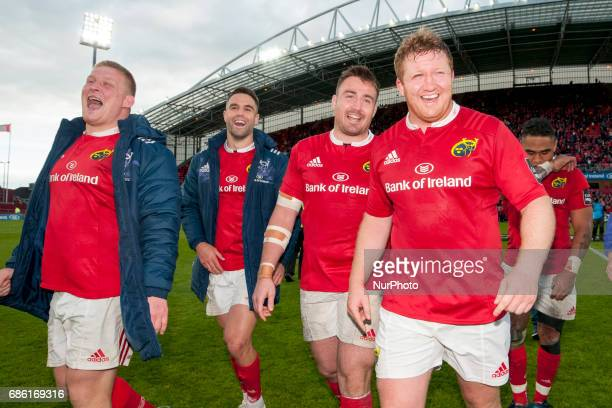 John Ryan Conor Murray Niall Scannell and Stephen Archer of Munster celebrate after the Guinness PRO12 SemiFinal match between Munster Rugby and...