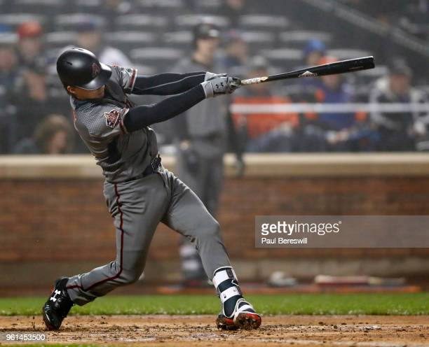 John Ryan Murphy of the Arizona Diamondbacks hits a 2 run home run the 4th inning in an MLB baseball game against the New York Mets on May 19 2018 in...