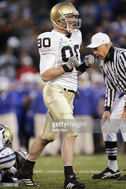 John Ryan of the Notre Dame Fighting Irish celebrates on the field during the game against the Air Force Falcons on November 11 2006 at Falcon...
